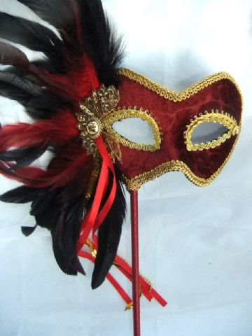 Red feathered Velour Stick Mask